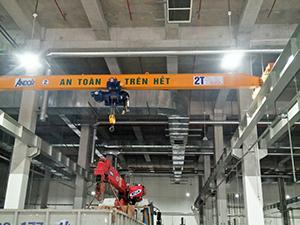 Cầu trục dầm đơn 2 tấn tại KCN Cao Hòa Lạc, TP Hà Nội